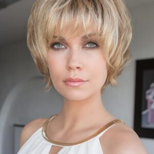 Women's Gray Short Synthetic Lace Front Wig Hand-Tied By Rooted