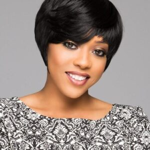 Women's African American Black HF Synthetic Wig Basic Cap
