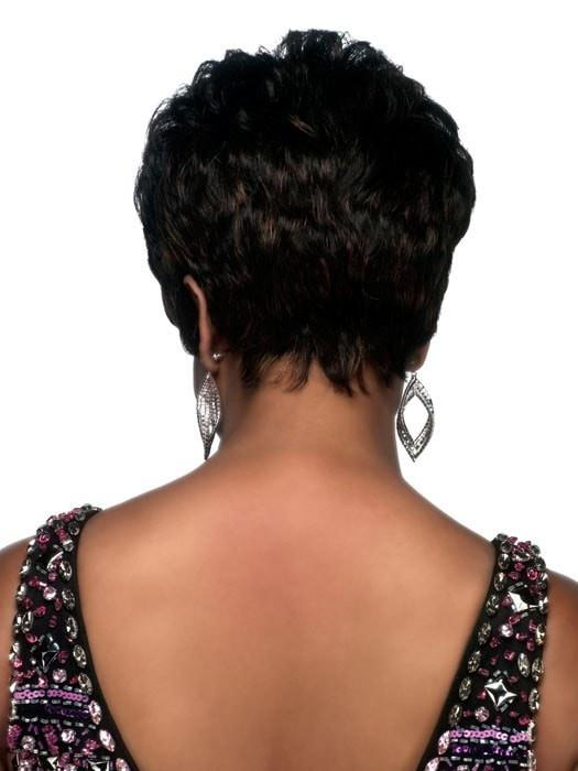 Women's Black Short African American Human Hair Wig Basic Cap