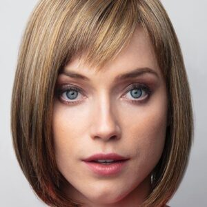 Women's Red Straight Synthetic Wig Mono Part By Rooted
