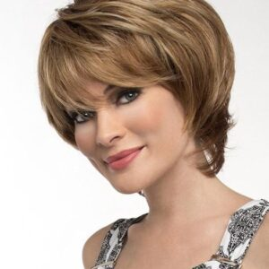 Women's Short Synthetic Straight Wig Mono Top Monofilament
