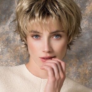 Click | Blonde Short Rooted Pixie Brunette Synthetic Wigs - wigglytuff.net