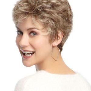 Flirt Petite | Gray Straight Short Women's Brunette Wavy Wigs - wigglytuff.net