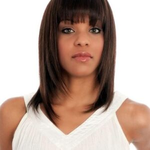 H-202 | Women's Mid-Length African American Human Hair Black Wigs - wigglytuff.net