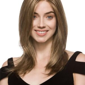Mega Mono | Women's Brunette Rooted Mid-Length Monofilament Layered Long Wigs - wigglytuff.net
