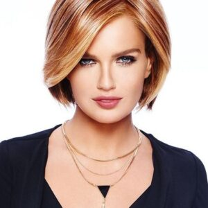 Straight Up With a Twist | Blonde Short Monofilament Women's Straight Brunette Synthetic Wigs - wigglytuff.net