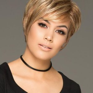 Cinch | Blonde Women's Short Gray Red Layered Synthetic Wigs - wigglytuff.net