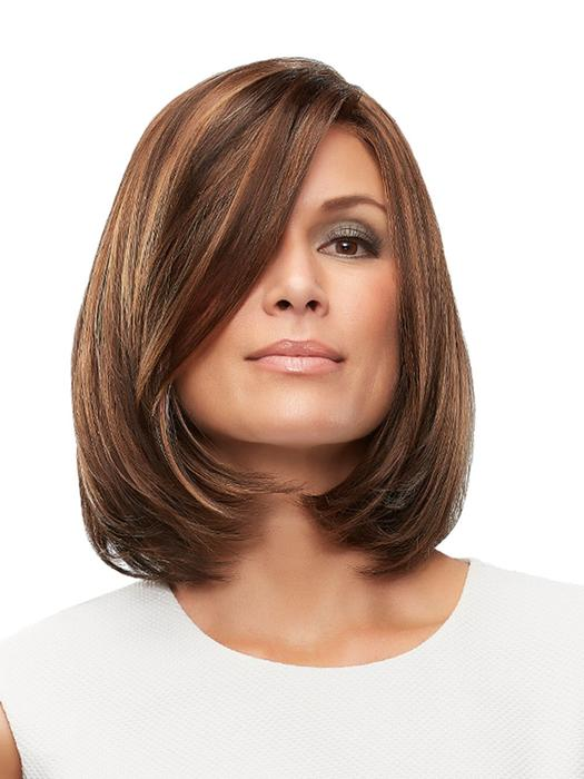 Cameron Large | Brunette Synthetic Rooted Black Red Lace Front Straight Wigs - wigglytuff.net