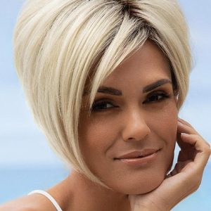 Susanne | Black Rooted Straight Gray New Arrivals Blonde Bob Wigs - wigglytuff.net