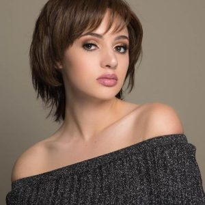 Coti | Red Brunette Short Rooted Human Hair Women's Straight Monofilament Wigs - wigglytuff.net