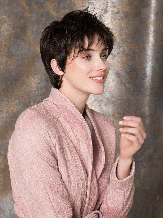 Fair Mono | Brunette Rooted Pixie Gray Monofilament Women's Wigs - wigglytuff.net