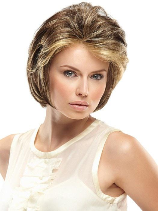 Hillary | Red Women's Lace Front Brunette Rooted Straight Short Wigs - wigglytuff.net