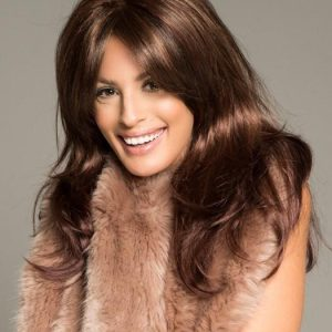Brooke | Red Lace Front Women's Long Brunette Rooted Gray Straight Wigs - wigglytuff.net