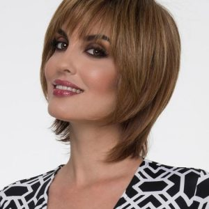 Dena | Layered Straight Brunette Blonde Rooted Short Red Monofilament Wigs - wigglytuff.net