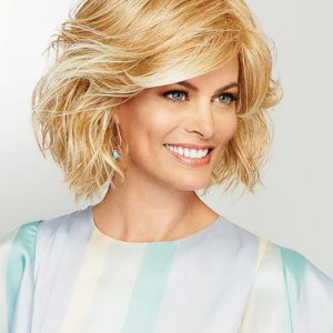 Visionary | Layered Synthetic Blonde Mid-Length Gray Bob Short Curly Wigs - wigglytuff.net