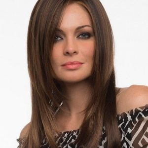 Belinda | Straight Red Lace Front Long Brunette Rooted Gray Wigs - wigglytuff.net