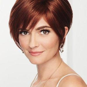 Contempo Cut | Straight Layered Brunette Synthetic Black Red Women's Lace Front Wigs - wigglytuff.net