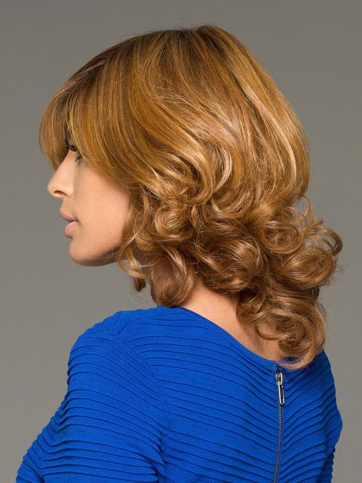 Danielle   Straight Red Lace Front Monofilament Brunette Human Hair Mid-Length Rooted Wigs - wigglytuff.net