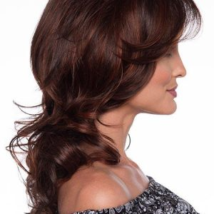 Selena | Curly Red Synthetic Layered Human Hair Gray Black Wigs - wigglytuff.net