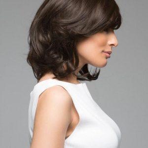 Spirit II | Straight Brunette Rooted Black Mid-Length Women's Bob Lace Front Wigs - wigglytuff.net