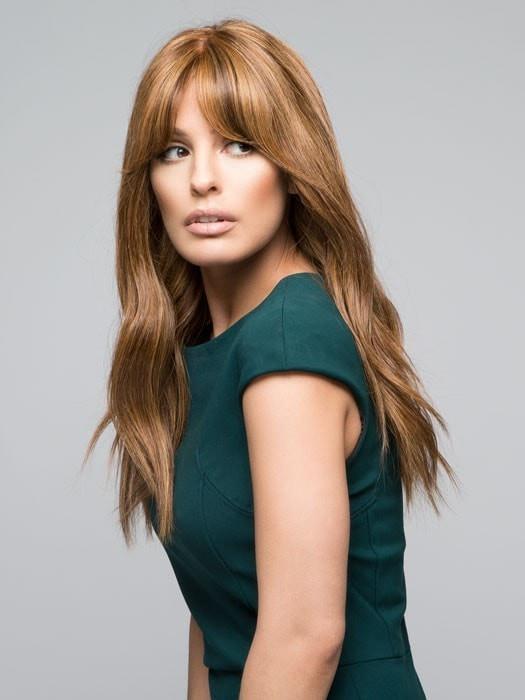 Lea Renau Exclusive | Long Brunette Rooted Human Hair Red Wigs - wigglytuff.net